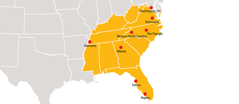 Map of the Southeastern US with dots at the locations of the Grinnell College regional networks.