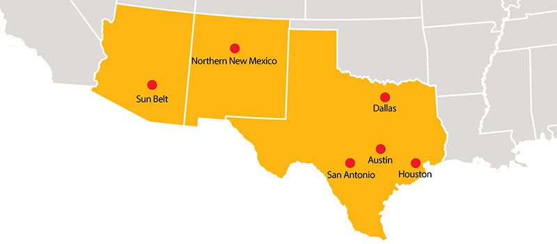 Map of the Southwestern US with dots at the locations of the Grinnell College regional networks.