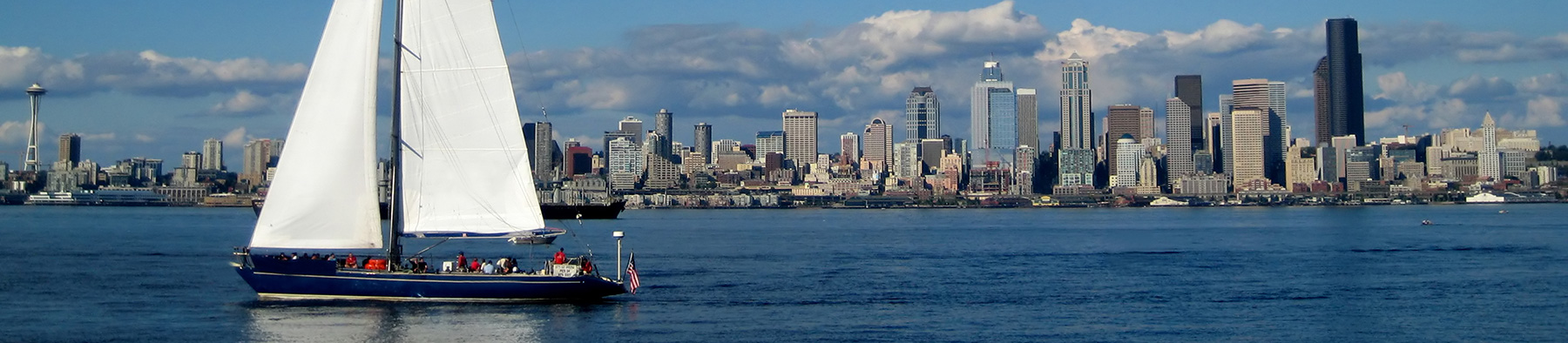 Seattle Skyline with sailboat in foreground