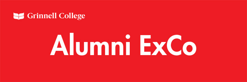 White text on red background. Text: Alumni ExCo. Grinnell College logo in all white in the upper left corner.