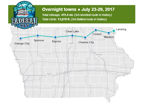RAGBRAI 2017 Route Map