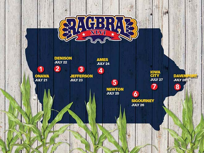 Stylized map of the RAGBRAI 2018 route. Starts in Onawa in the west and ends in Davenport in the east.