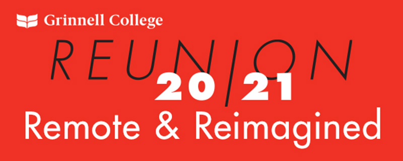 Black and White Text over Red Background. Text: Reunion 20/21 Remote & Reimagined