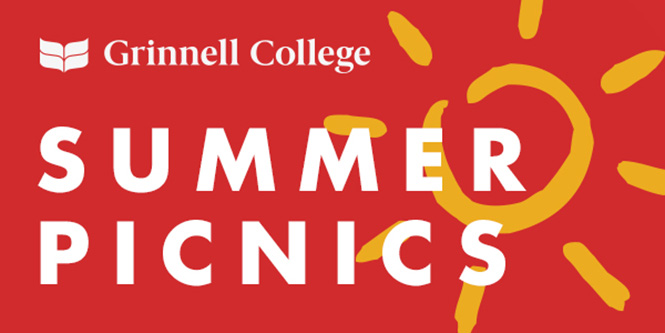 Text: Summer Picnics Image: A red background with a drawn sun behind the text.