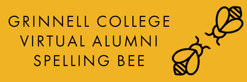 Icon: Two bees facing each other. Text: Grinnell College Virtual Alumni Spelling Bee.