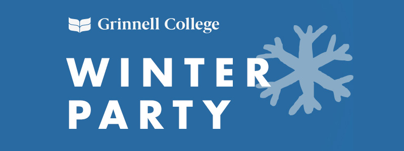 Text: Winter Party. White text on blue background. A gray snowflake floats behind the text. The Grinnell College logo is in all white and in the upper left corner.