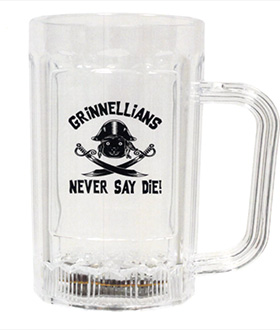 "Mug design for the 15th Reunion Cluster. Clear mug with the words ""Grinnellians never say die!"". A monkey based skull and crossbones finish the design."