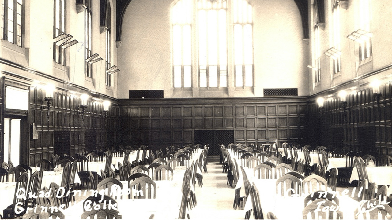 Main Quad dining room in Black and White