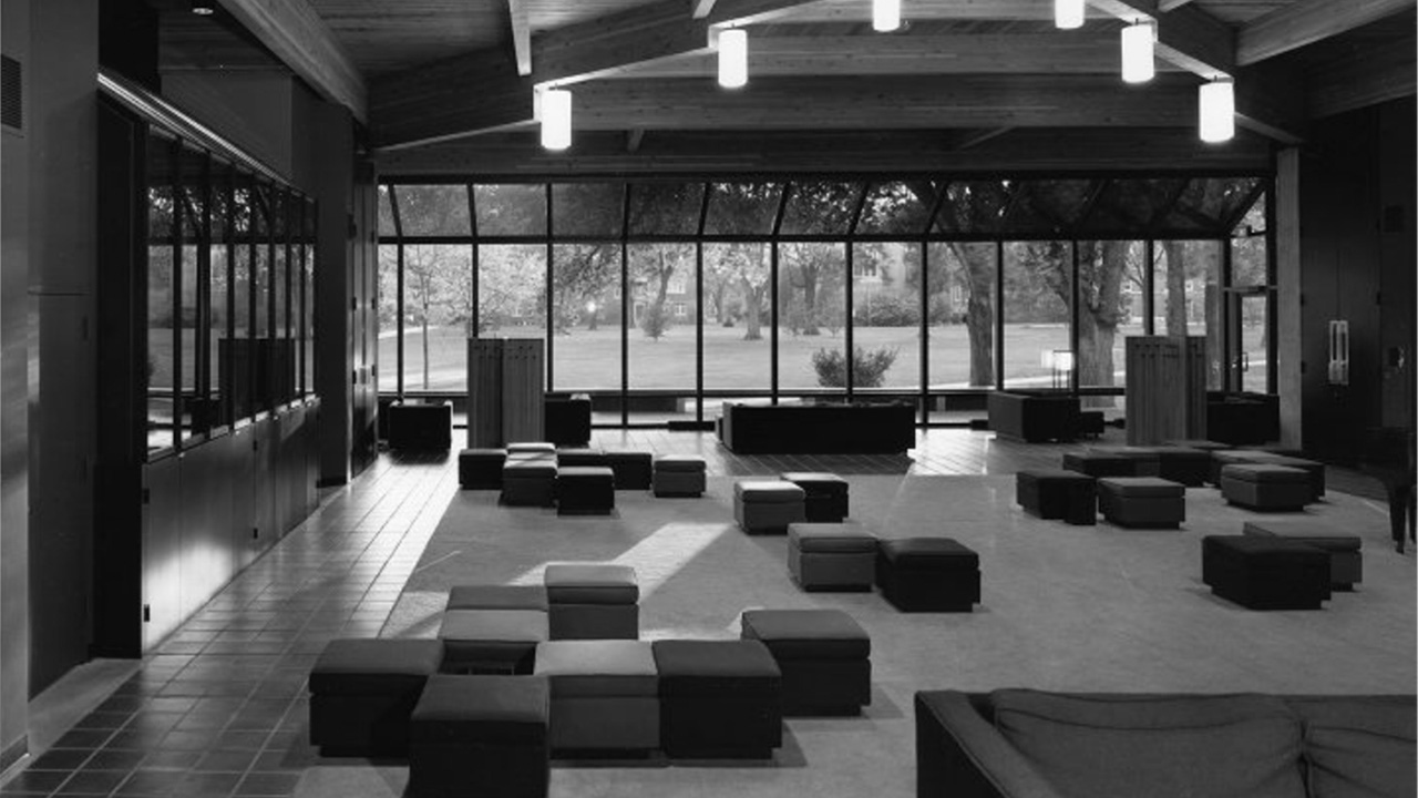 A black and white photo of a lounge in Forum.