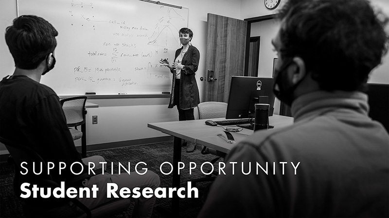 A professor in a mask stands at a whiteboard while speaking with students. Text: Supporting Opportunity, Student Research.