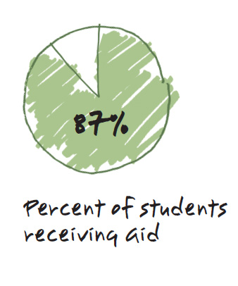 Pie chart - 87% of students receive financial aid