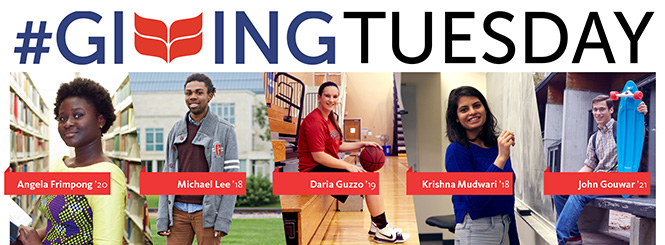 #Giving Tuesday. 5 students pictured in a vertical collage. Angela Frimpong '20, Michael Lee '18, Daria Guzzo '19, Krishna Mudwari '18, and John Gouwar '21 are the students featured.