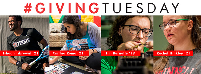 Giving Tuesday - Ishaan Tibrewal '21, Cinthia Romo '21, Tim Burnette '19, Rachel Hinkley '21