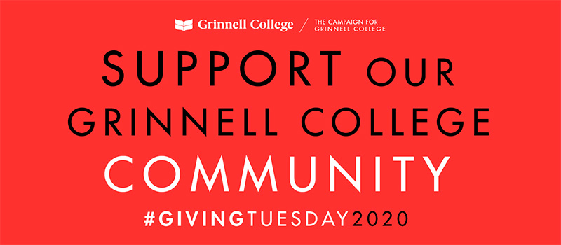Black and White Text over Red Background. Text: Support our Grinnell College Community #GivingTuesday2020