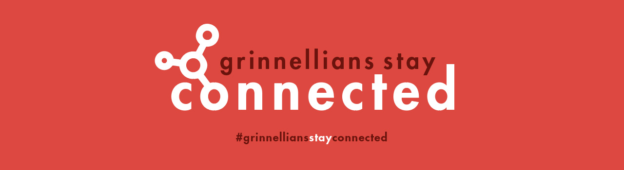 Black and White text on a burnt orange color. Text: Grinnellians Stay Connected.