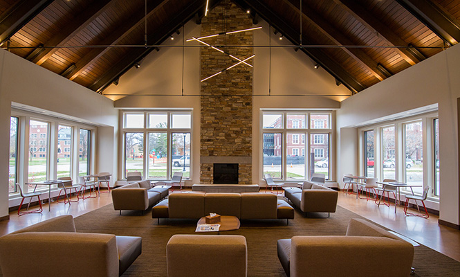 Reception area for potential and current students in the new Admissions and Student Financial Service Center.