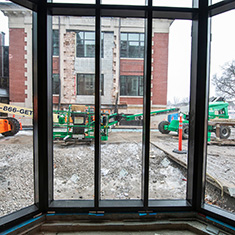 A few from a Bay Window in ARH shows Carnegie hall in the background with construction lifts in the foreground.