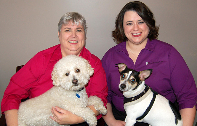 Jennifer Bays Beinart, right, and her mother, Donna J. Bays, hold dogs that help out at Bays Family Law practice. Donna has Mordecai, a certified therapy dog, while Jennifer holds Gideon Wainwright.