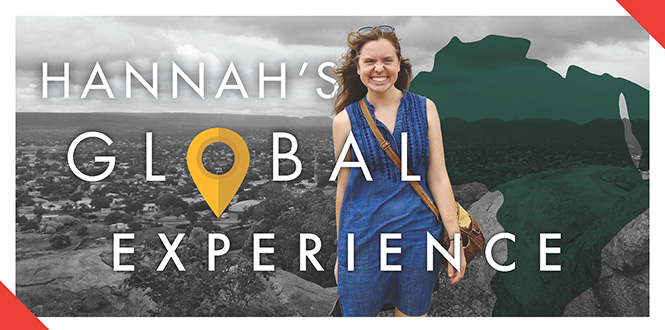 Infographic: Picture of Hannah Lundberg '18 over a map of Africa and images of the savannah. Text: Hannah's Global Experience