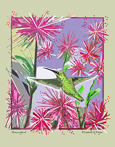 "Painting ""Hummingbird"" by Elizabeth Fagen '81. The paining depicts a Green Hummingbird among Purple and White flowers."