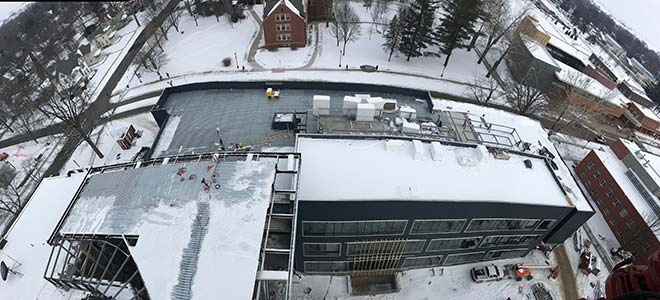 Picture of the new Humanities and Social Studies Center taken from the construction crane on February 9, 2018.