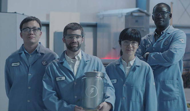 Jeff Sullivan '94 and other GE employees as part of the Unimpossible Missions video series.