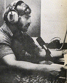 Dale Scherler '76, a former KDIC station manager, broadcasts a show in 1973