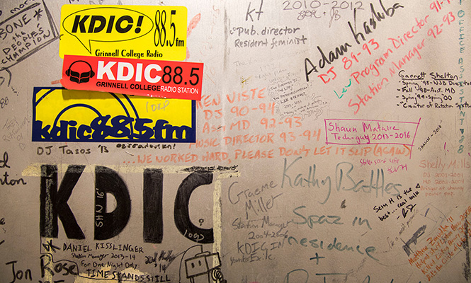 A door with the names of students who worked for the radio station is preserved inside the Joe Rosenfield '25 Center