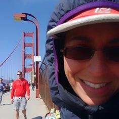 Natalie Larson '06 - selfie on the Golden Gate Bridge