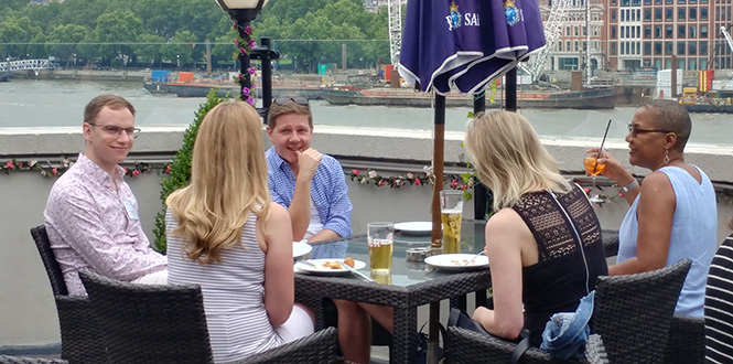 London area alumni, family members, and students enjoy the scenery and good company during the London summer social on June 23.