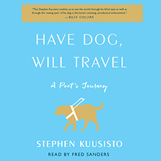 Cover: Have Do, will Travel. Image, A dark yell dog with a bright yellow leading harness.
