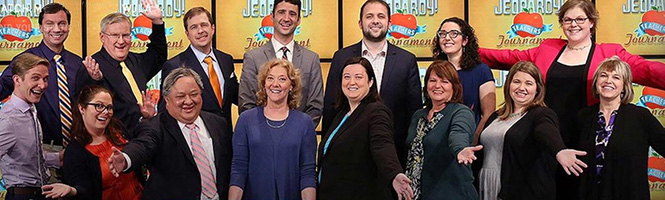 Mary Parker '06 posing with the other Jeopardy contestants for a promo for the Jeopardy Teachers' Tournament