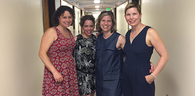 Sarah Slack '98, left, Jill Paulsen '98, Maura Bartel '98, and Emily Martin '98 smile for a group photo taken during their 20th reunion in 2018.
