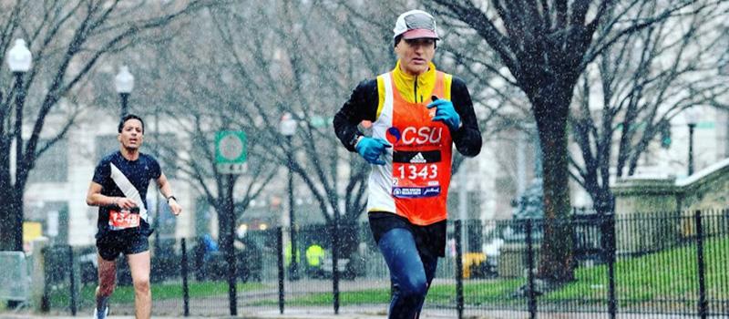 Neil Martin '99 runs in the Boston Marathon.