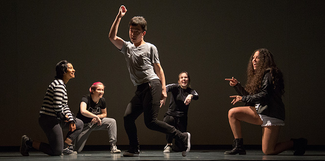 Grinnell student show off their dancing abilities during a talent show to cap National Philanthropy Week.