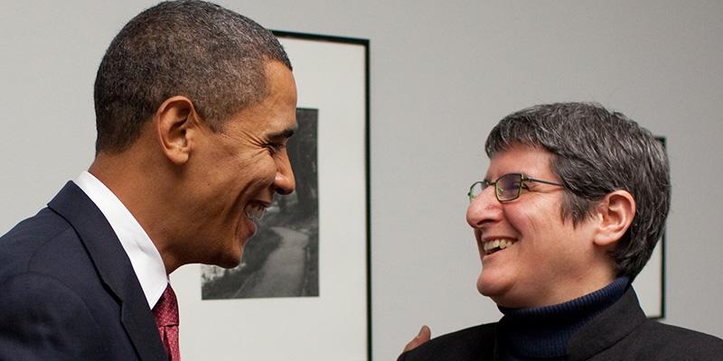 President Barack Obama with Ruth Gresser '80