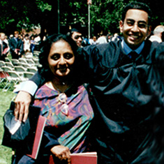 Samir Sashikant '00, right, with his mom Lalita Sen.