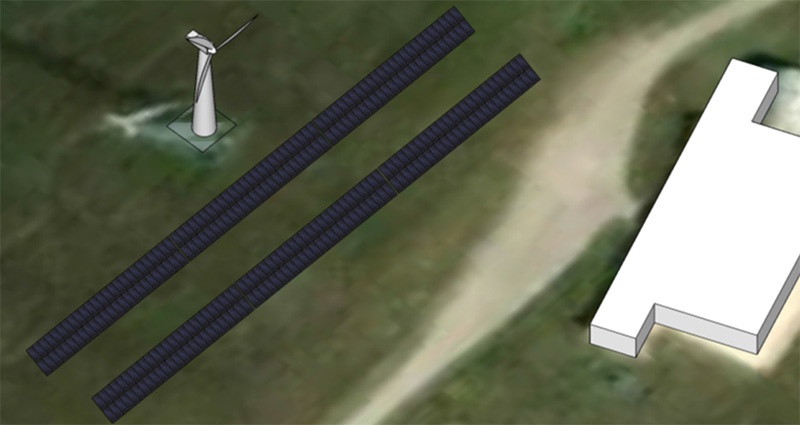 A rendering shows where the solar panels will be placed at the Conard Environmental Research Area (CERA). Once built, all of the Environmental Education Center's electricity will come from solar or wind power.