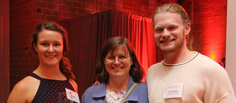 Sophie Neems '16, left, Christine Cozadd, and Jonathan Gilmour '19