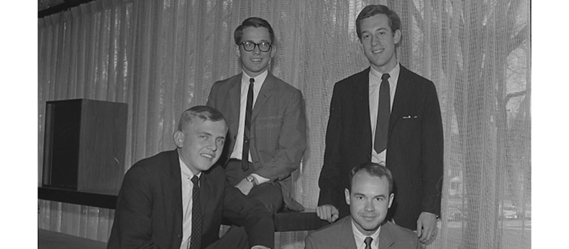 Steve Kent '67, top left, poses in a 1966 photo with other student leaders on campus, including Dan Bucks '67 and David Hume '67.