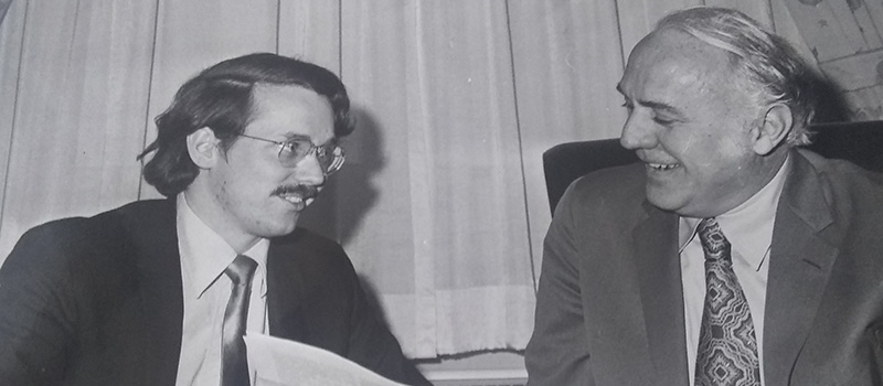In this 1973 picture, Kent, left, looks over paperwork with Rep. George O'Brien.