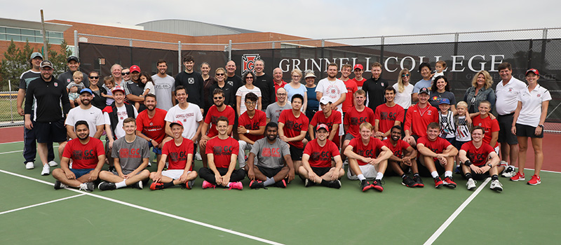 Group photo of alumni, staff, faculty, and friends who attended the Tennis Court Dedication in September 2019.