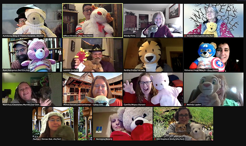 """The members of the group """"Two Households of Fair Corona"""" hold up teddy bears in a group shot taken from the zoom meeting."""