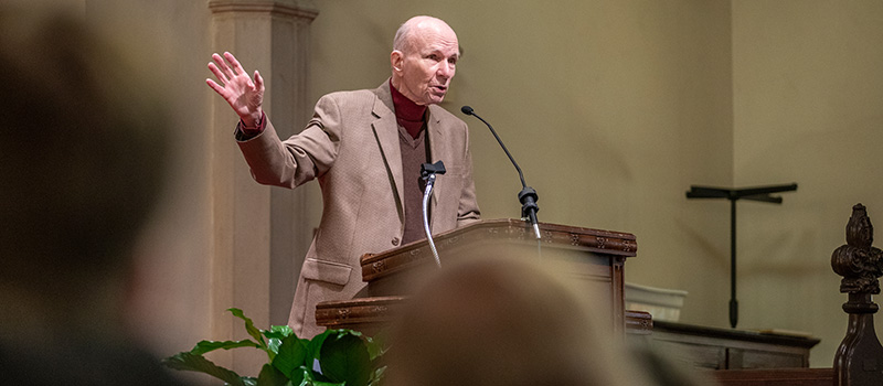 Veteran Bill Ingram '53 provided words of reflection during the Veteran's Day Ceremony held at Herrick Chapel.