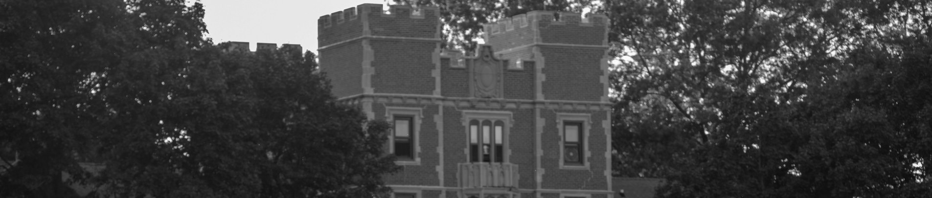 Black and white image of the ramparts of Gates Tower.