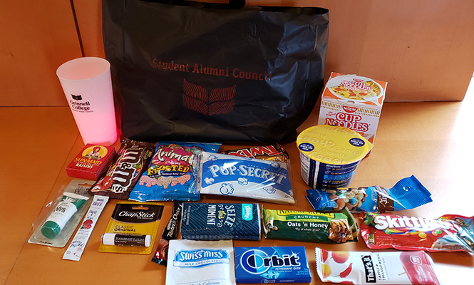 A display of the items in a sample care package.