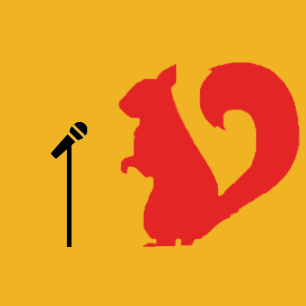Logo: Scarlet the Squirrel speaking into a microphone.