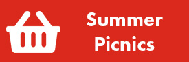 Button: Summer Picnics. Icon - Stylized Picnic Basket