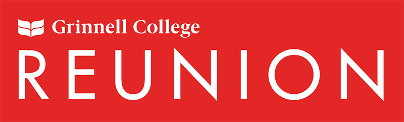 Text: Reunion. White font over a red background. Grinnell College logo in the upper left corner