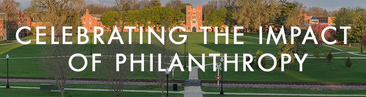 Text: Celebrating the impact of Philanthropy. Text floating over image of Gates Tower.